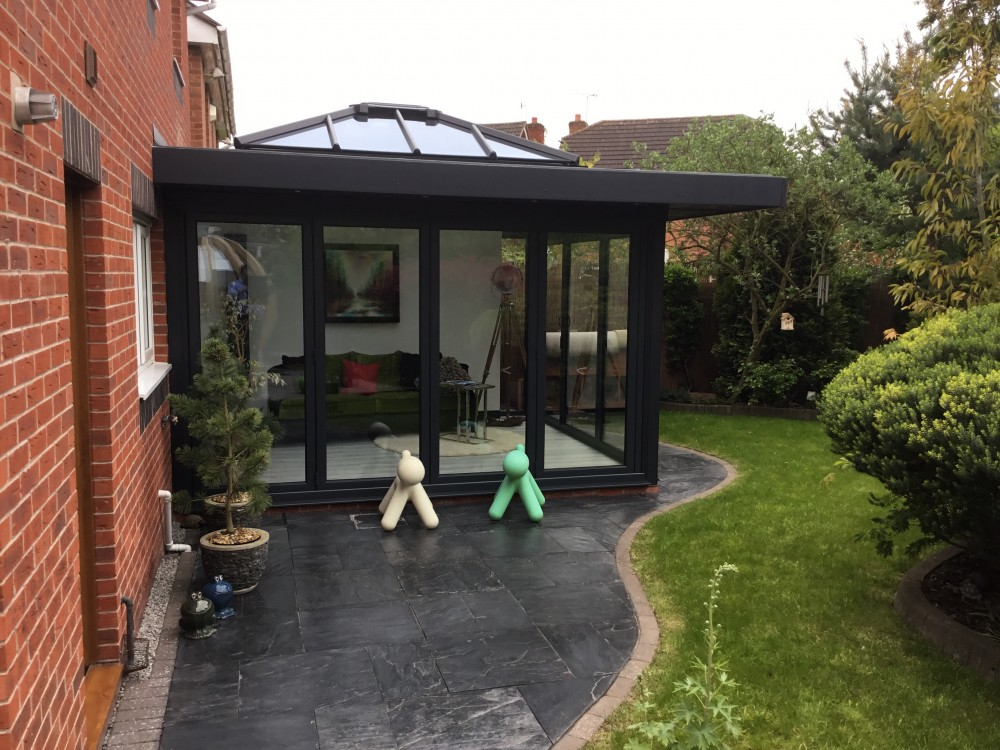 Anthracite Grey Orangery with Overhang in Derby