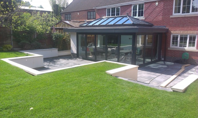 Anthracite Grey Orangery and Landscaping in Nottingham