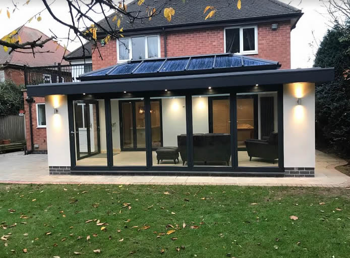 Anthracite Grey Orangery With Render Basfords