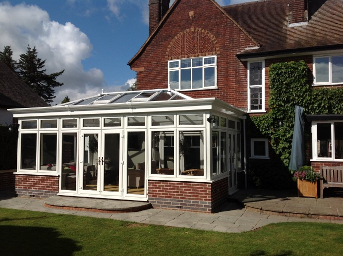 White Grain Timber Look Orangery Fitted in Conservation Area