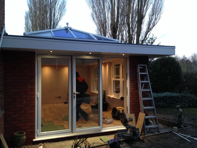 Overhang Orangery Finished in White