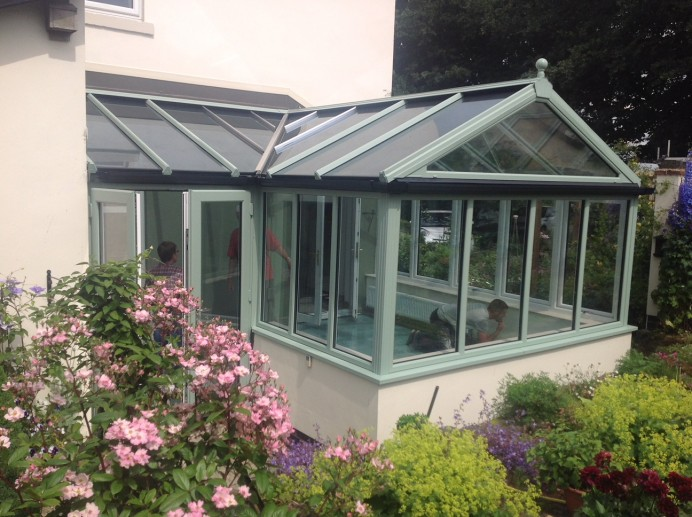 White uPVC Conservatory Transformed into Rehau Chartwell Green Conservatory