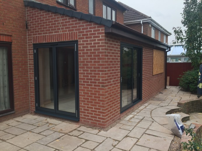 Anthracite Grey French Doors and Sliding Doors installed