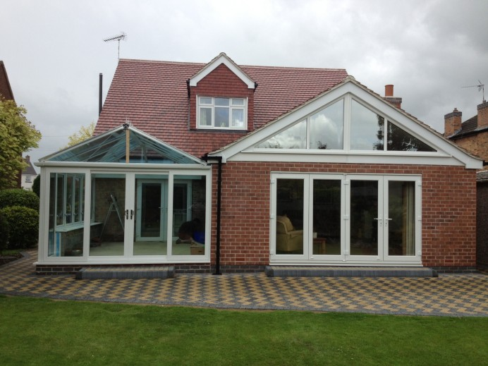Conservatory Installation with Gable Windows and Patio Doors Installed