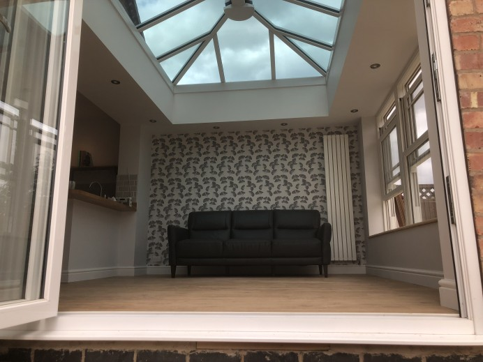 New Orangery Fitted as Living Space for Kitchen