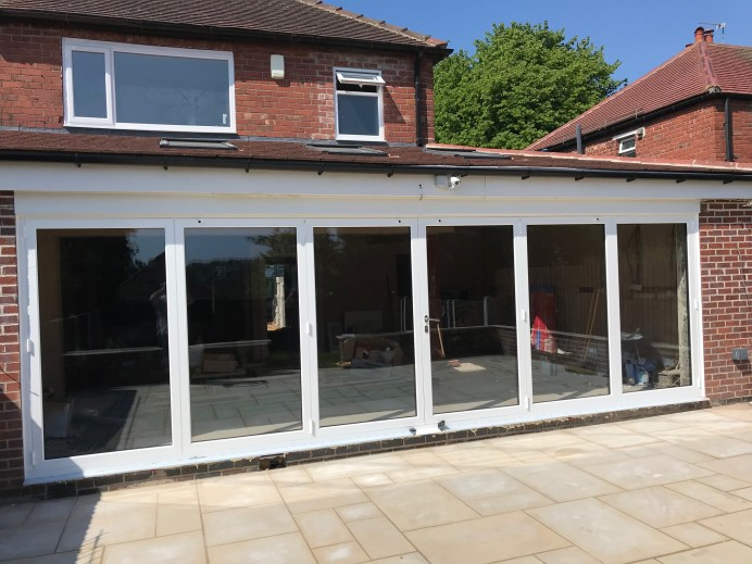 7 Metre White Bi Fold Door Fitted at Property