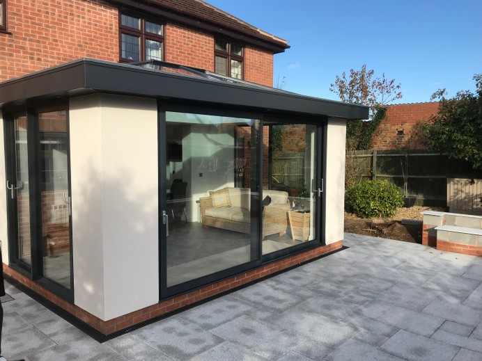 White Rendered Orangery Built at Property