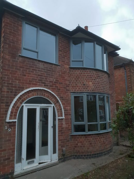 Dark Silver Metallic Bay Window Fitted with Normal Windows