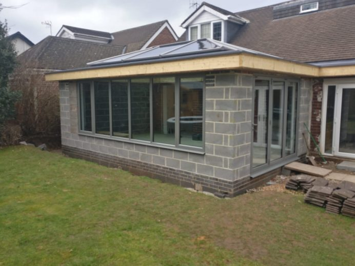 Dark Silver Metallic Orangery Replaces an Old Conservatory