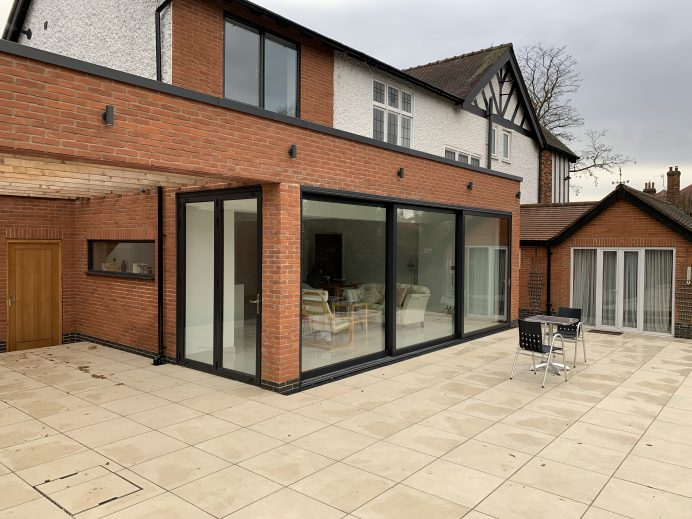 Dutemann Glide S Sliding Door and a Single Door and Side Panel Fitted in New Extension