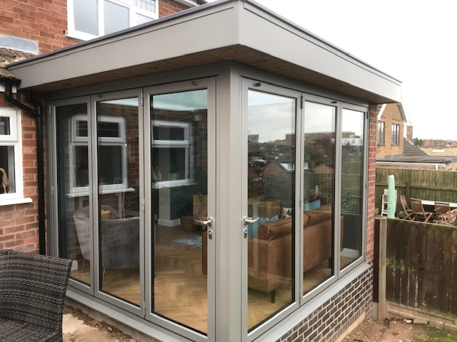 Raised Dark Silver Metallic Orangery Built